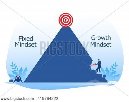Business Manager Growth Mindset Different Fixed Mindset Concept Vector