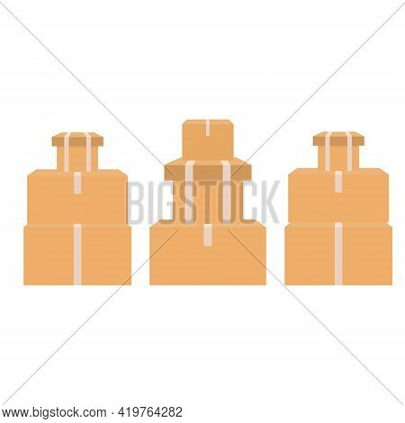 Pile Of Stacked Cardboard Boxes. Cardboard Box Mockup Set. Vector Isolated Sealed Boxes On White Bac