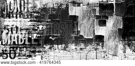 Abstract Grunge Monochrome Messy Background.  Drawing On Old Grungy Surface. Vintage Dirty Cracked W
