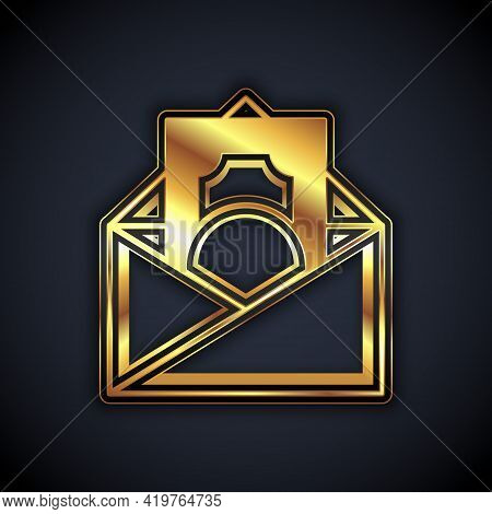 Gold Envelope With Coin Dollar Symbol Icon Isolated On Black Background. Salary Increase, Money Payr