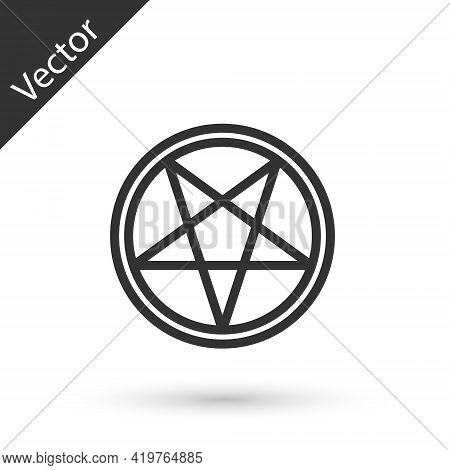 Grey Line Pentagram In A Circle Icon Isolated On White Background. Magic Occult Star Symbol. Vector