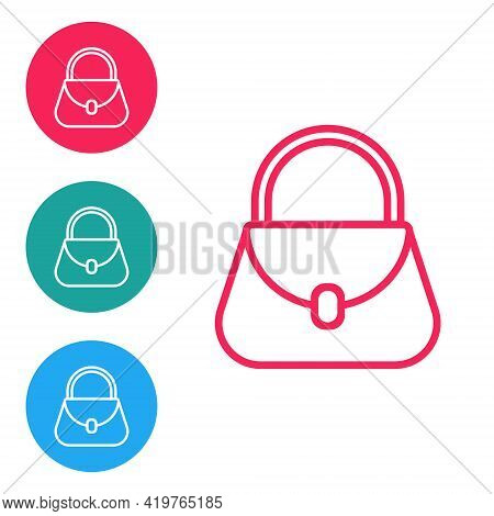 Red Line Handbag Icon Isolated On White Background. Female Handbag Sign. Glamour Casual Baggage Symb