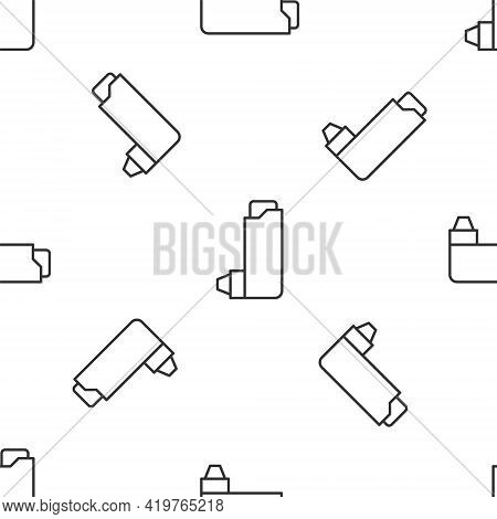 Grey Line Inhaler Icon Isolated Seamless Pattern On White Background. Breather For Cough Relief, Inh