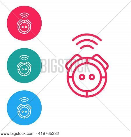 Red Line Robot Vacuum Cleaner Icon Isolated On White Background. Home Smart Appliance For Automatic