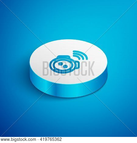 Isometric Line Robot Vacuum Cleaner Icon Isolated On Blue Background. Home Smart Appliance For Autom