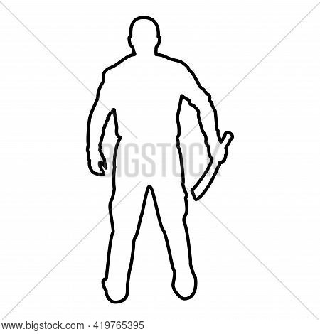 Man With Sword Machete Cold Weapons In Hand Military Man Soldier Serviceman In Positions Hunter With