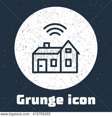 Grunge Line Smart Home With Wireless Icon Isolated On Grey Background. Remote Control. Internet Of T