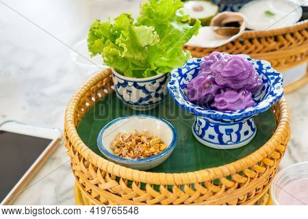 Chor Muang Is A Steamed Flower Shaped Dumplings Traditional And Vintage Thai Dessert On An Ancient D