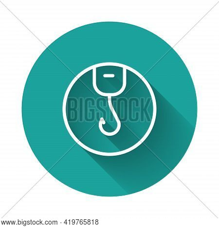 White Line Fishing Hook Icon Isolated With Long Shadow. Fishing Tackle. Green Circle Button. Vector