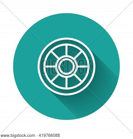 White Line Safe Icon Isolated With Long Shadow. The Door Safe A Bank Vault With A Combination Lock.