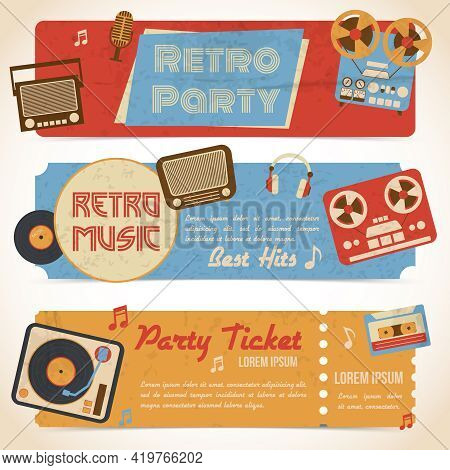Retro Music Party Ticket Banners With Analog Gadgets Isolated Vector Illustration