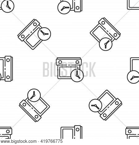 Grey Line Calendar And Clock Icon Isolated Seamless Pattern On White Background. Schedule, Appointme