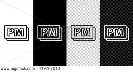 Set Line Clock Pm Icon Isolated On Black And White Background. Time Symbol. Vector