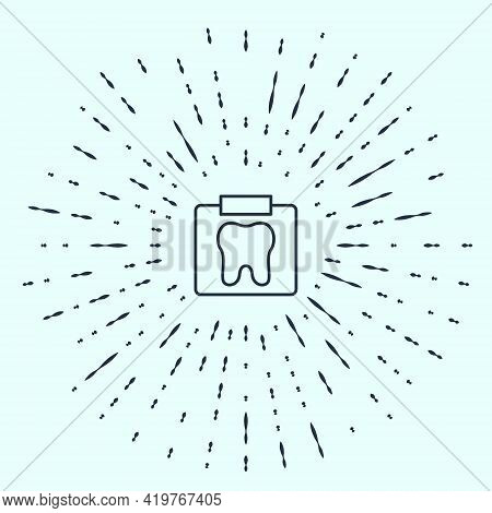 Black Line X-ray Of Tooth Icon Isolated On Grey Background. Dental X-ray. Radiology Image. Abstract