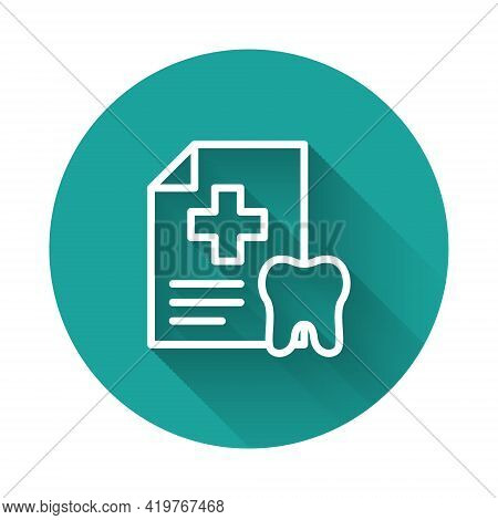 White Line Clipboard With Dental Card Or Patient Medical Records Icon Isolated With Long Shadow. Den