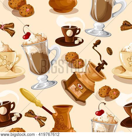 Coffee Colored Seamless Pattern With Turk Cookies Cinnamon Grinder Cup Vector Illustration
