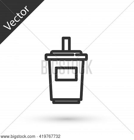 Grey Line Paper Glass With Drinking Straw And Water Icon Isolated On White Background. Soda Drink Gl