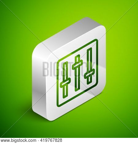 Isometric Line Sound Mixer Controller Icon Isolated On Green Background. Dj Equipment Slider Buttons