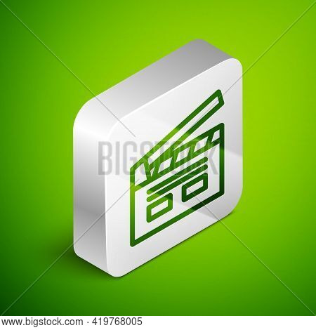 Isometric Line Bollywood Indian Cinema Icon Isolated On Green Background. Movie Clapper. Film Clappe