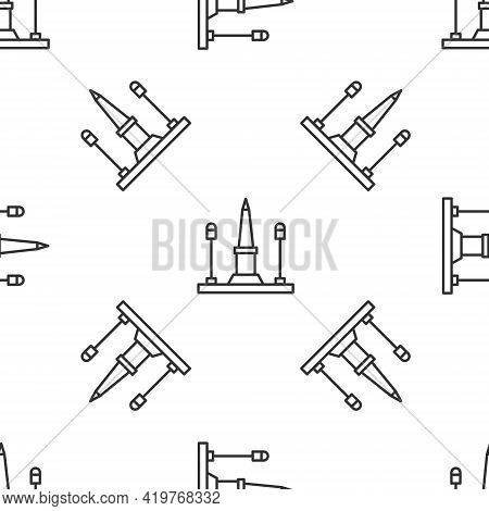 Grey Line Place De La Concorde In Paris, France Icon Isolated Seamless Pattern On White Background.