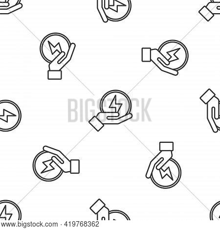 Grey Line Lightning Bolt Icon Isolated Seamless Pattern On White Background. Flash Sign. Charge Flas