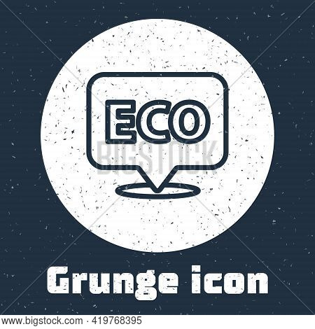 Grunge Line Banner, Label, Tag, Logo For Eco Green Healthy Food Icon Isolated On Grey Background. Or