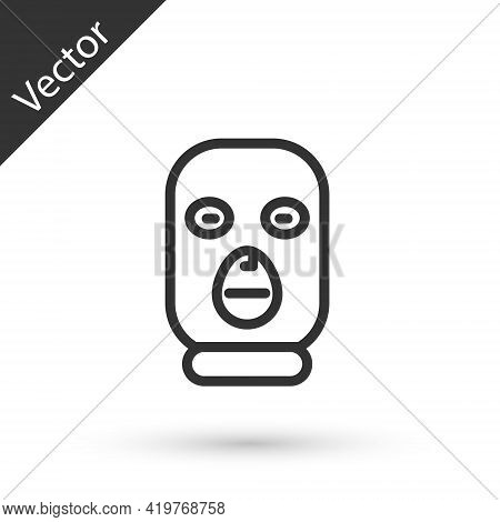 Grey Line Thief Mask Icon Isolated On White Background. Bandit Mask, Criminal Man. Vector