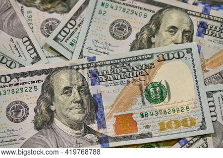 Cash Of Hundred Dollar Bills. Financial, Business, Investment And Economical Concept. Money Backgrou