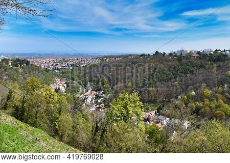 View On Old Historic Spa Town Called Bad Dürkheim In Palatinate Forest In Germany