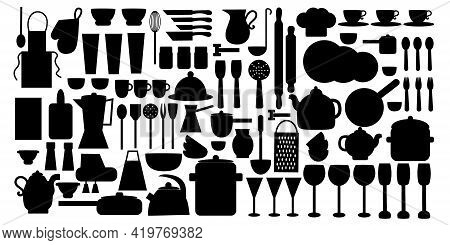 Black Color Utensils And Kitchen Utensils Icons Set. Flat Vector Illustration Isolated On White Back