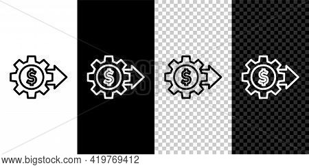 Set Line Gear With Dollar Symbol Icon Isolated On Black And White Background. Business And Finance C
