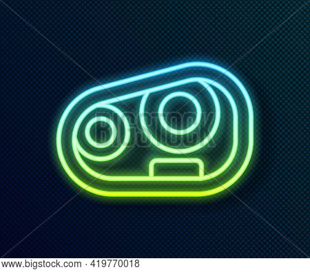 Glowing Neon Line Car Headlight Icon Isolated On Black Background. Vector