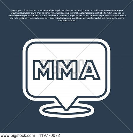 Blue Line Fight Club Mma Icon Isolated On Blue Background. Mixed Martial Arts. Vector