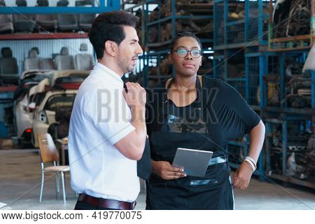 Woman Boring To Work With Man. Diversity Of Two People, Black African Worker Woman Boring To Work Wi