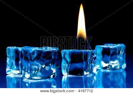 Flame Burning On Blue Ice Cubes