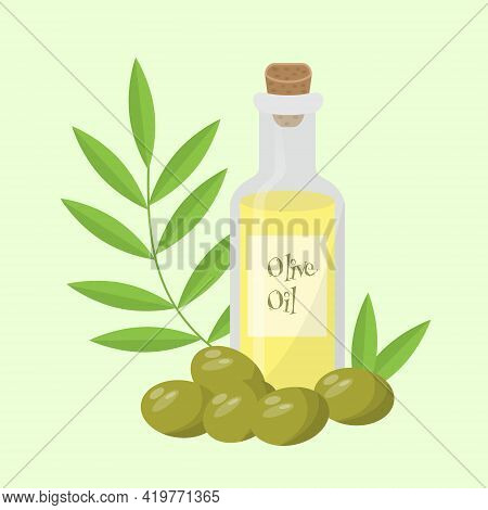 Olive Oil Glass Bottle With Olives, Leaves And Branch In Flat Style. Vector Realistic Template Desig