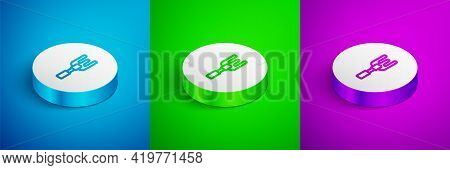 Isometric Line Garden Rake Icon Isolated On Blue, Green And Purple Background. Tool For Horticulture
