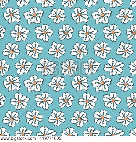 Floral Seamless Pattern. Cute Floral Background. Pattern For Baby, Kids And Child Background With Fl