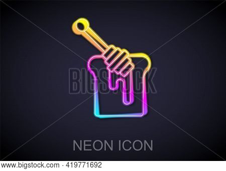 Glowing Neon Line Honey Dipper Stick With Dripping Honey Icon Isolated On Black Background. Honey La
