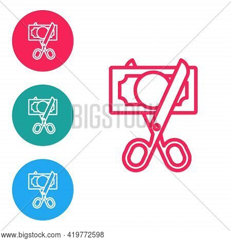 Red Line Scissors Cutting Money Icon Isolated On White Background. Price, Cost Reduction Or Price Re