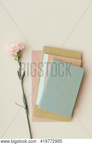 Pink carnation with blank notes
