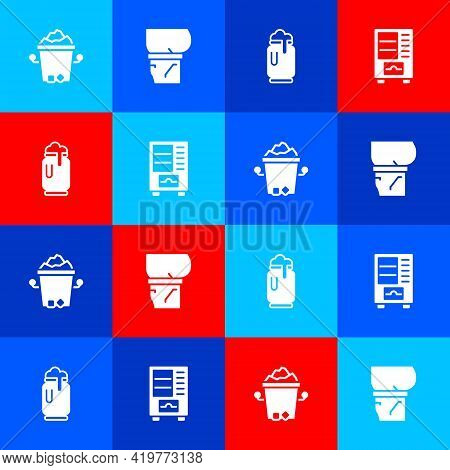 Set Ice Bucket, Beer Belly, Can With Foam And Vending Machine Icon. Vector