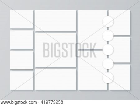 Photo Collage Template. Moodboard Background. Vector. Mosaic Frame Banner. Picture Grid. Mood Board.