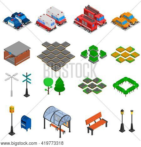 City Infrastructure Isometric Elements Set Of  Bench Pavement Tile Mailbox Lamp Post Traffic Light O