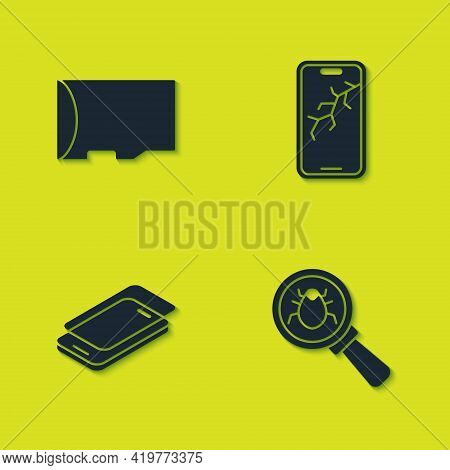 Set Micro Sd Memory Card, System Bug, Glass Screen Protector And Mobile With Broken Icon. Vector