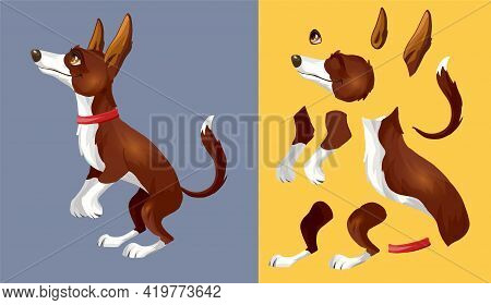 Brown White Dog Dog Lies On Its Side And Rests. Cartoon Character. Classic Handmate Vector Illustrat