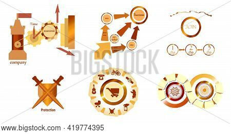 Set Of Simple Infographics And Elements. Protection. Circles And Arrows.  Infographics. Step By Step