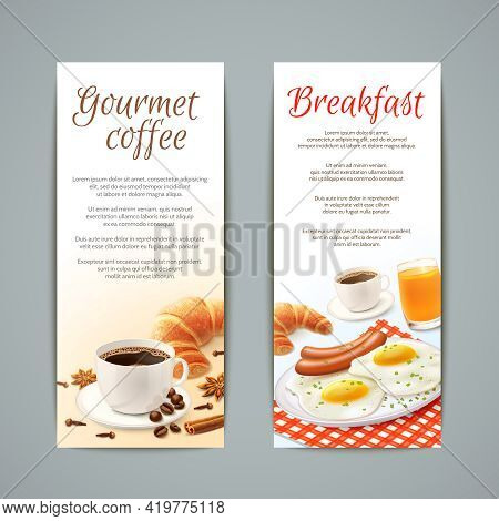 Breakfast Food Vertical Banners Set With Coffee Cup Croissant Fried Eggs And Orange Juice Isolated V