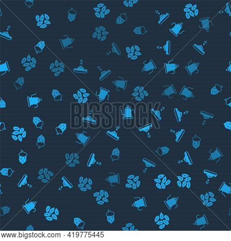 Set Seed, , Watering Can And Acorn, Oak Nut, Seed On Seamless Pattern. Vector