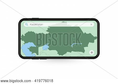 Searching Map Of Kazakhstan In Smartphone Map Application. Map Of Kazakhstan In Cell Phone. Vector I